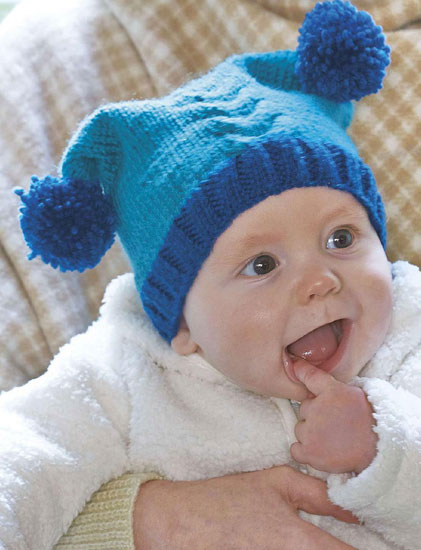 Baby pom pom hat knitting pattern