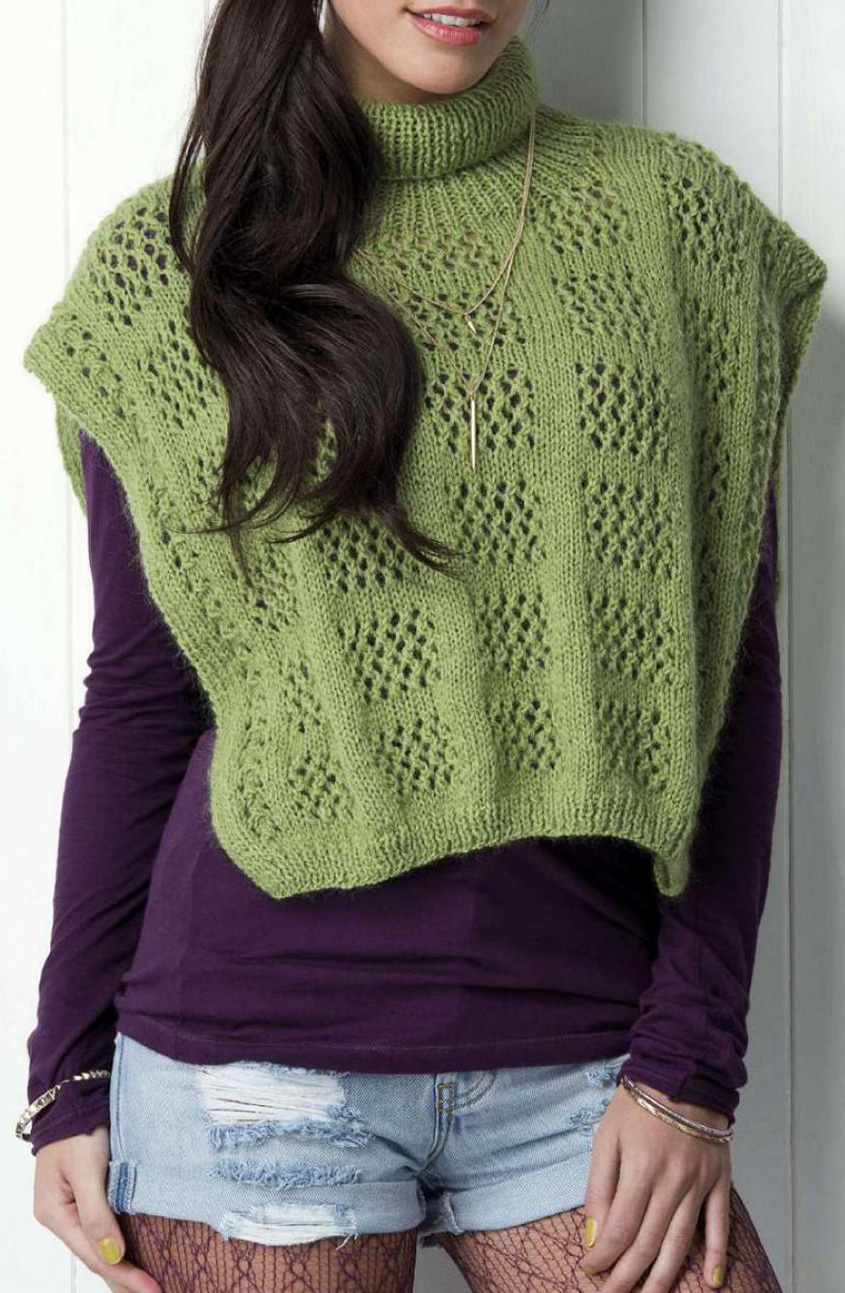 Lacy poncho knitting pattern