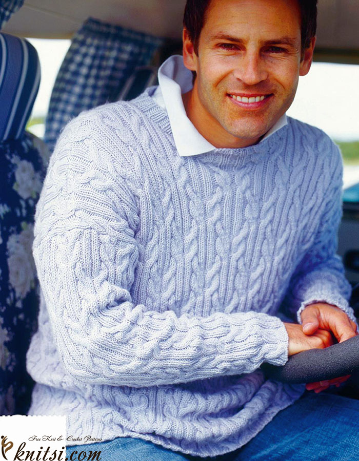 Mans cable sweater knitting pattern