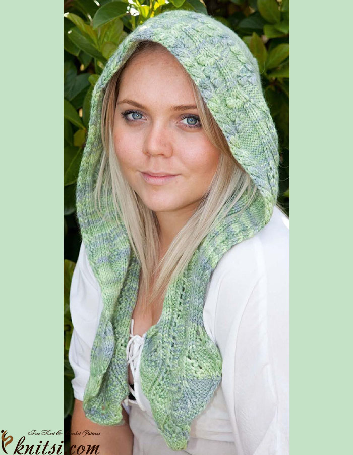 Knit Hooded Scarf Pattern Free : Hooded scarf knitting pattern free