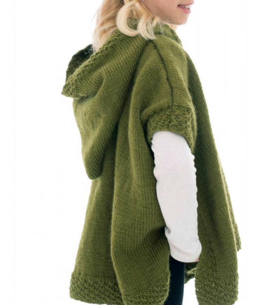 Girl Hoodid Poncho Knitting Pattern