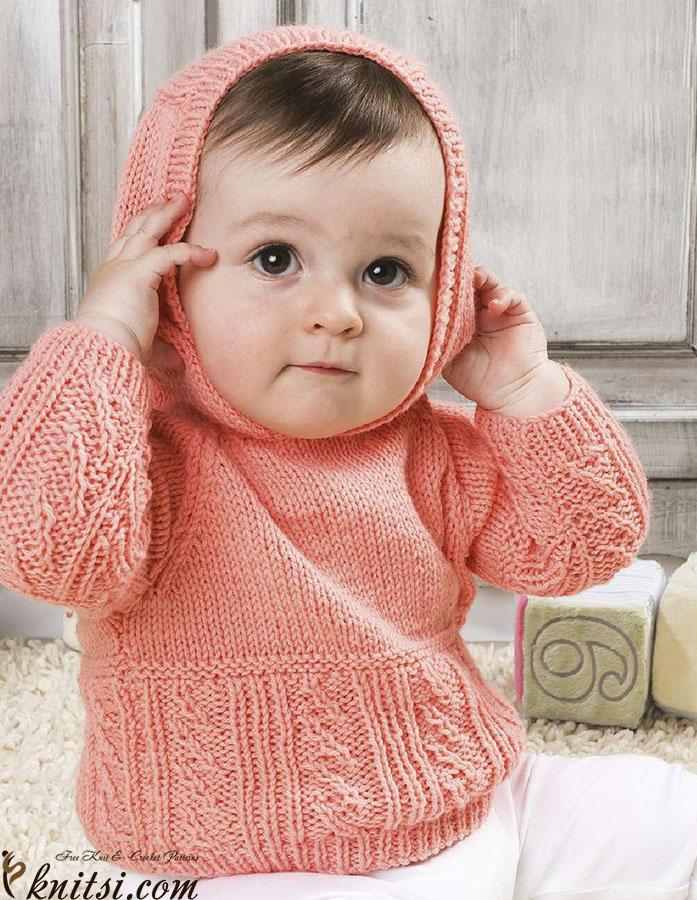 Baby Jumper Knitting Pattern : Baby hooded jumper knitting pattern
