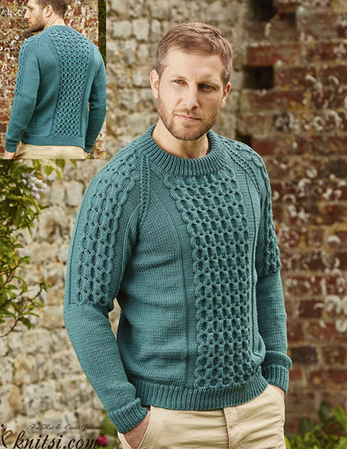 Free Knitting Patterns Mens Sweaters : Cabled raglan sweater for men