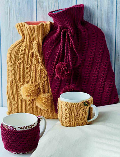 Knitted hottie cosies and mug cosies