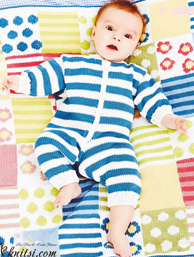 Knitted All In One Baby Suit Pattern : Knitted all in one suit for baby