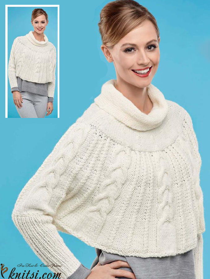 Knitting Pattern For Cape With Sleeves : Knit cape with sleeves pattern