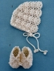 Crochet baby bonnet and booties