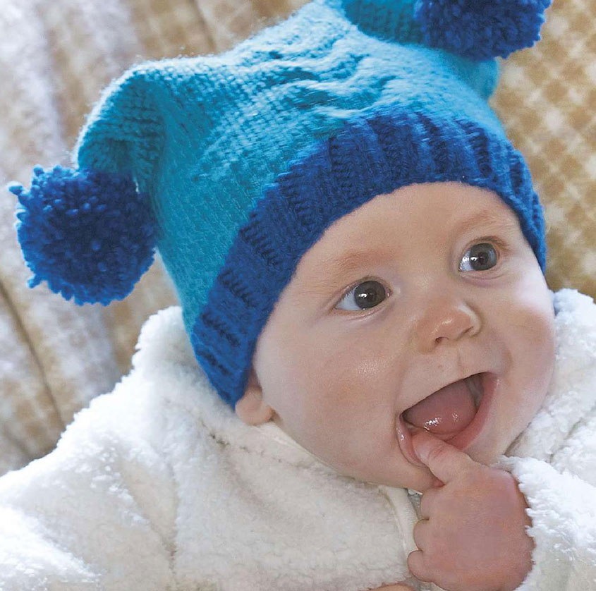 Baby pom pom hat knitting pattern free