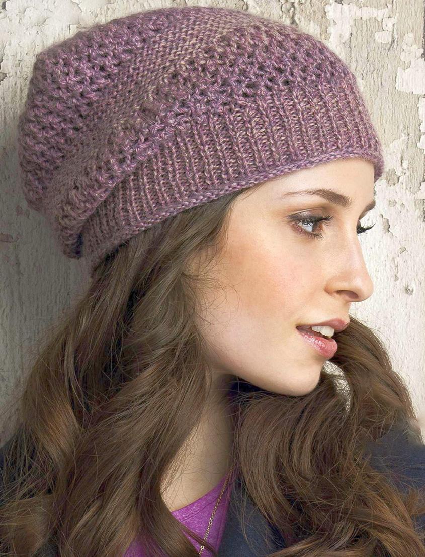 Lace beanie knitting pattern