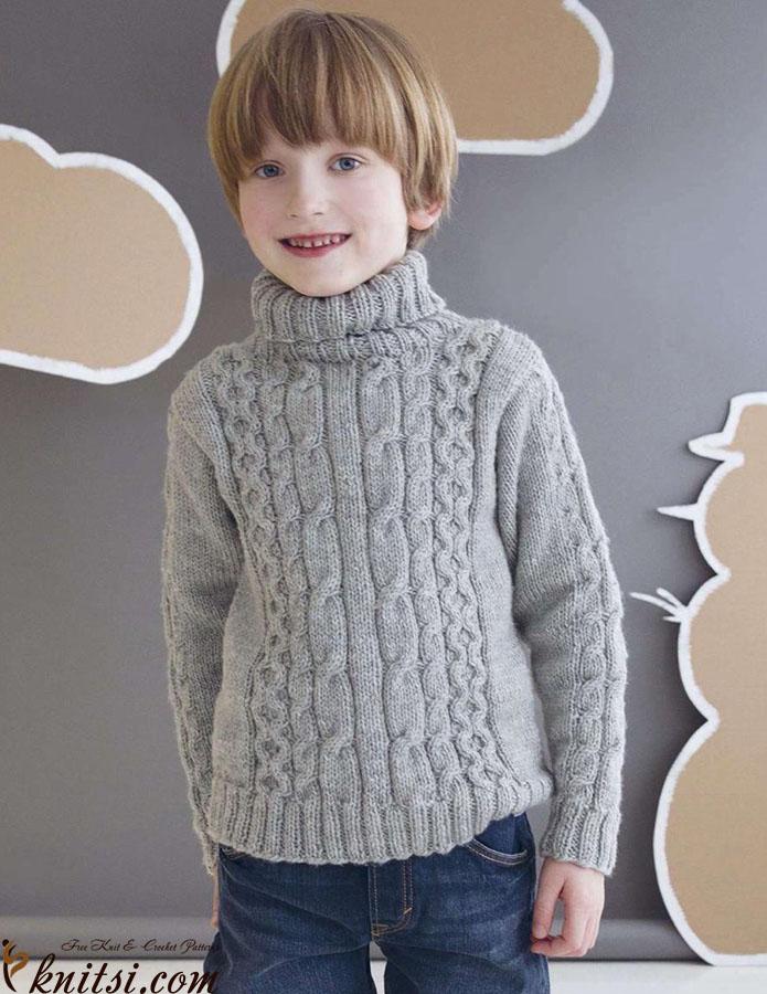 Boys Roll Neck Sweater Knitting Pattern