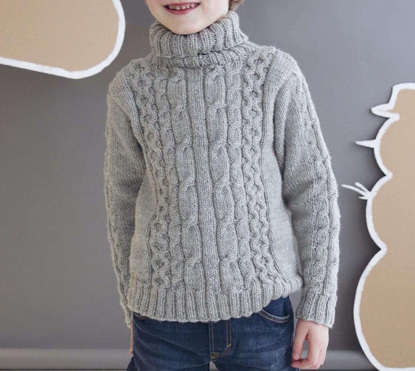 Boys Roll Neck Sweater Knitting Pattern