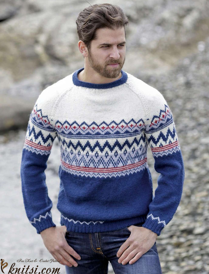 Men\'s fair isle sweater knitting pattern