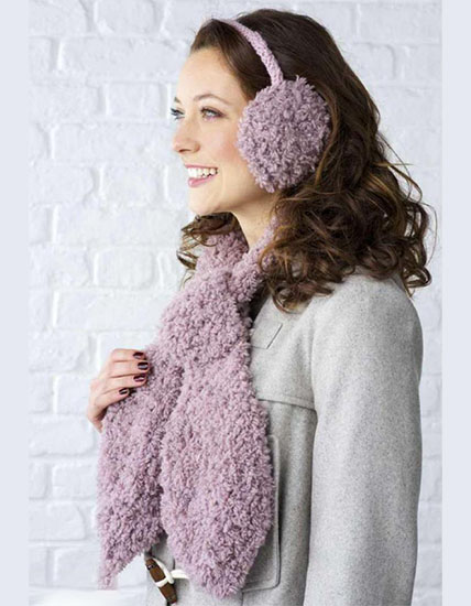 Knit earmuff and scarf pattern