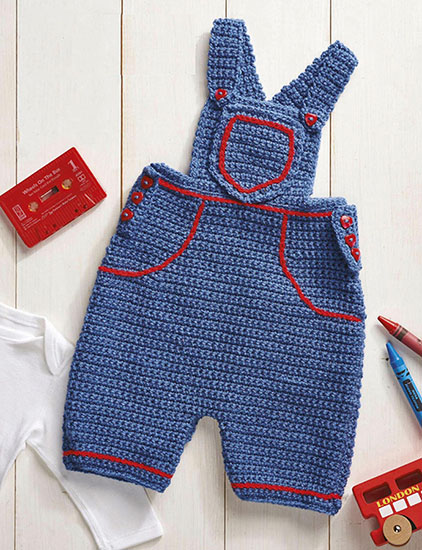 Crochet baby dungarees pattern