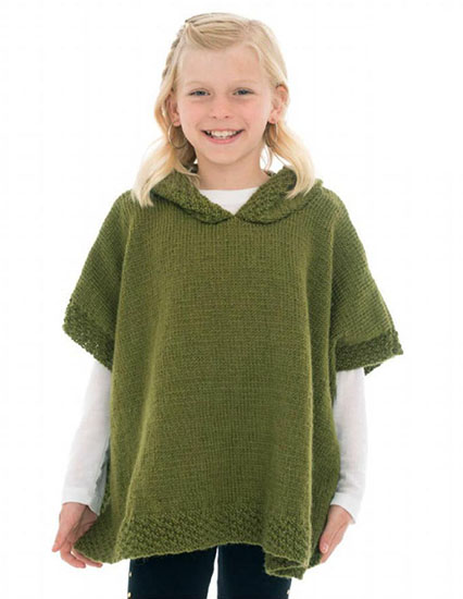 Knitting Patterns Free Links Young Girl S Hooded Poncho Free