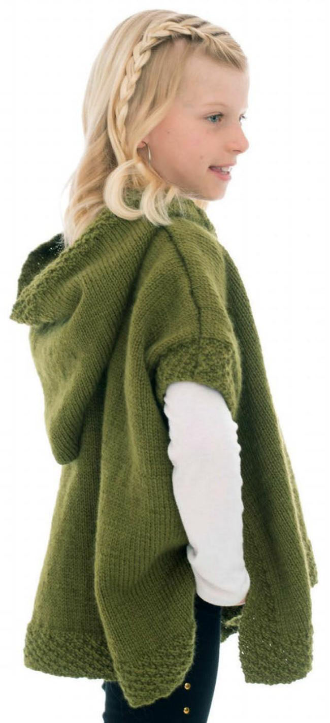 Girl hoodid poncho knitting pattern