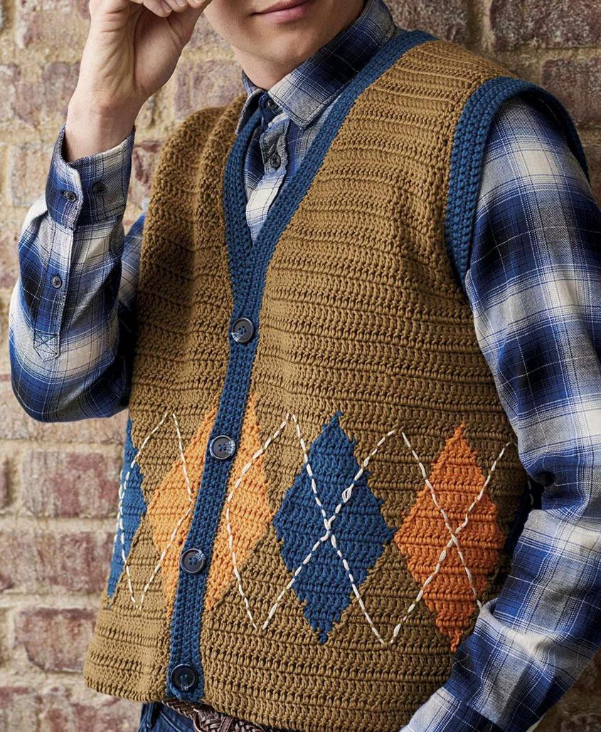 Men\'s waistcoat crochet pattern