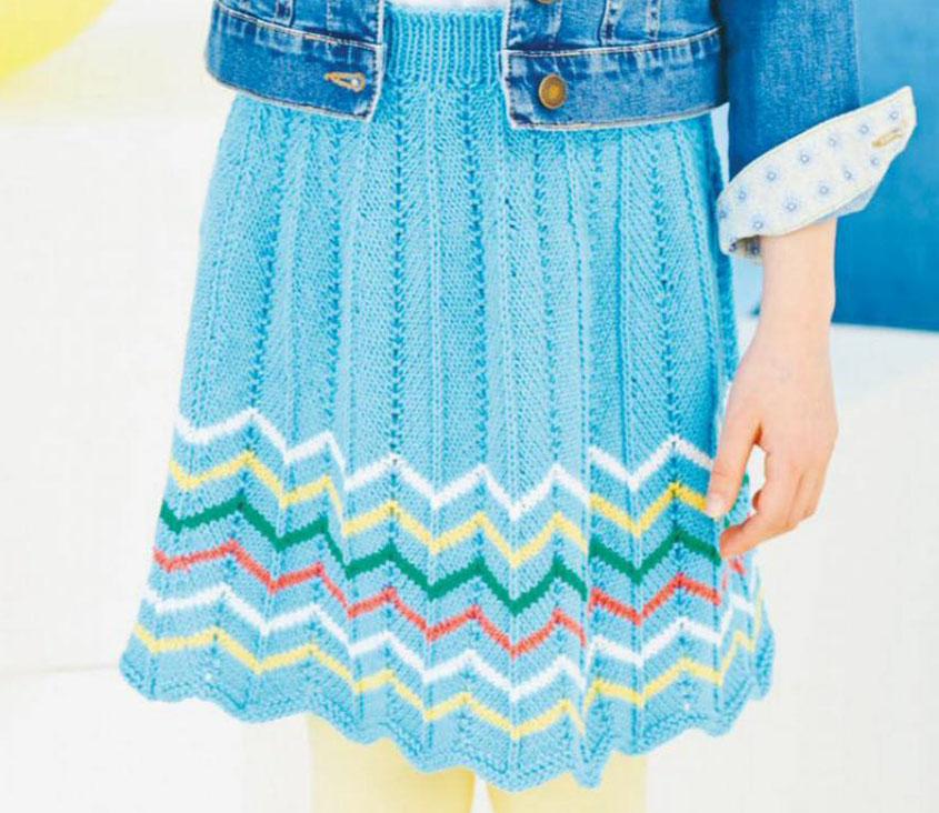 Girl Chevron Skirt Knitting Pattern