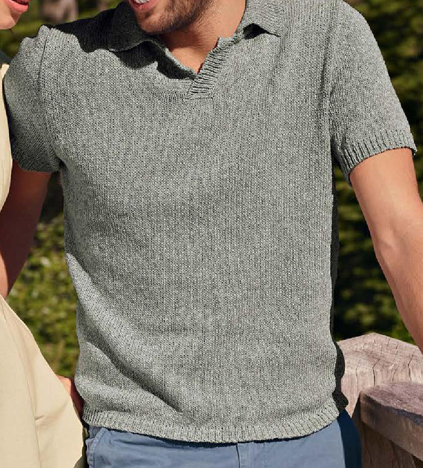 Short sleeve polo shirt knitting pattern