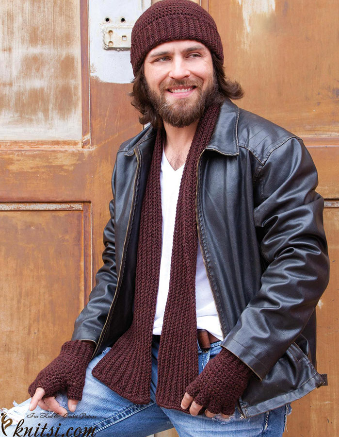 Men\'s set: hat scarf and mitts