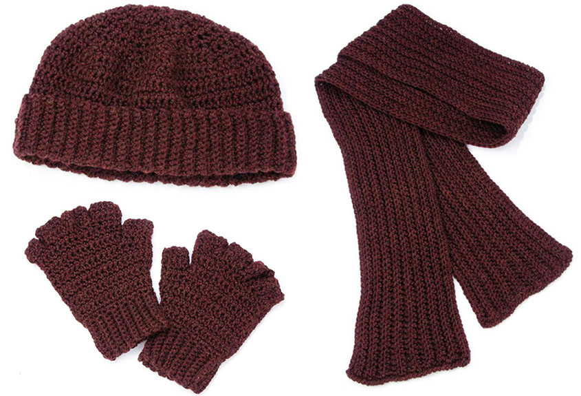 Mens Set Hat Scarf And Mitts