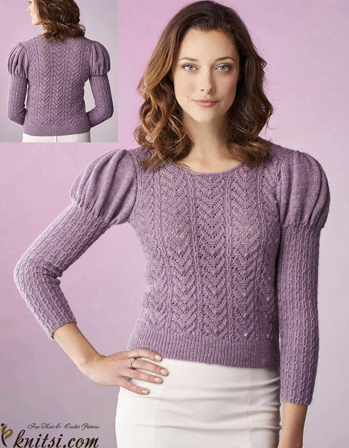 Knitted Jumper With Puffed Sleeves