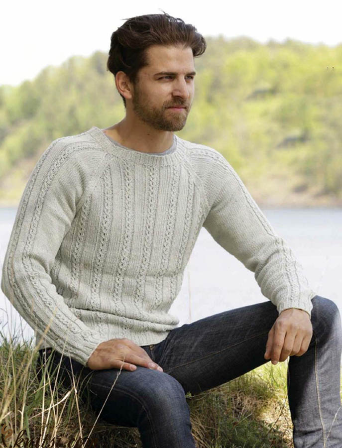 Men\'s raglan-sleeved cable sweater