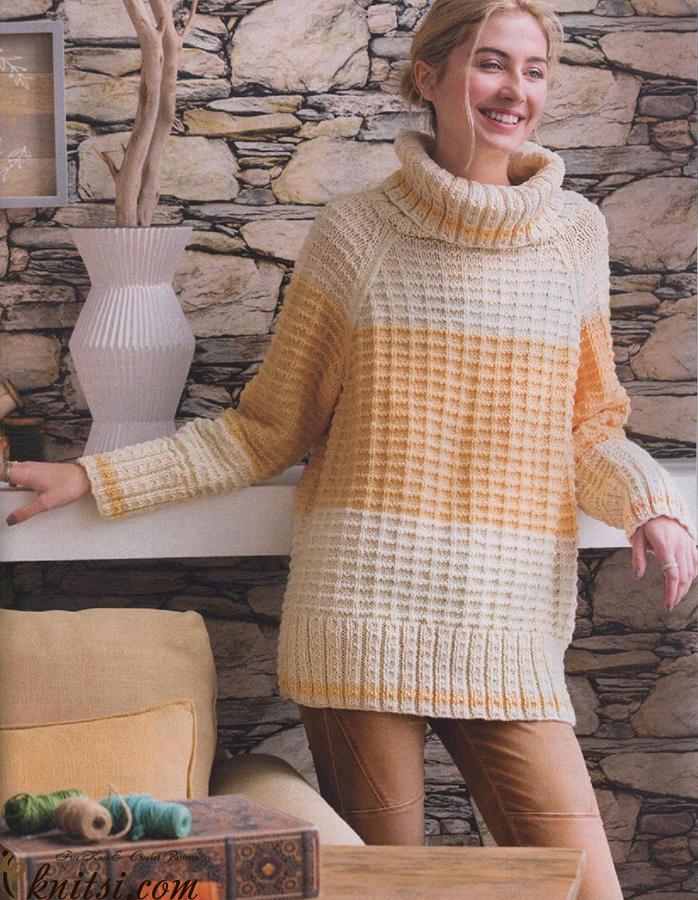 Oversized Turtleneck Knitting Pattern Free