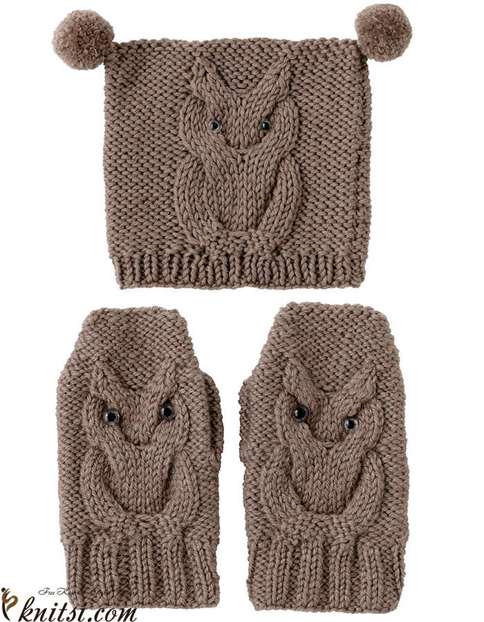 Owl Cap Owl Mittens Knitting Patterns Free