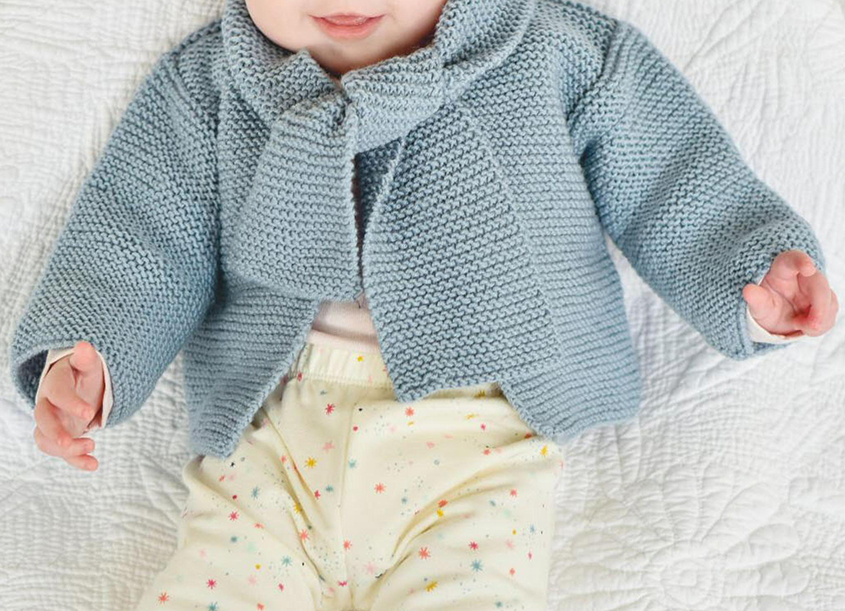 Garter stitch baby jacket free pattern