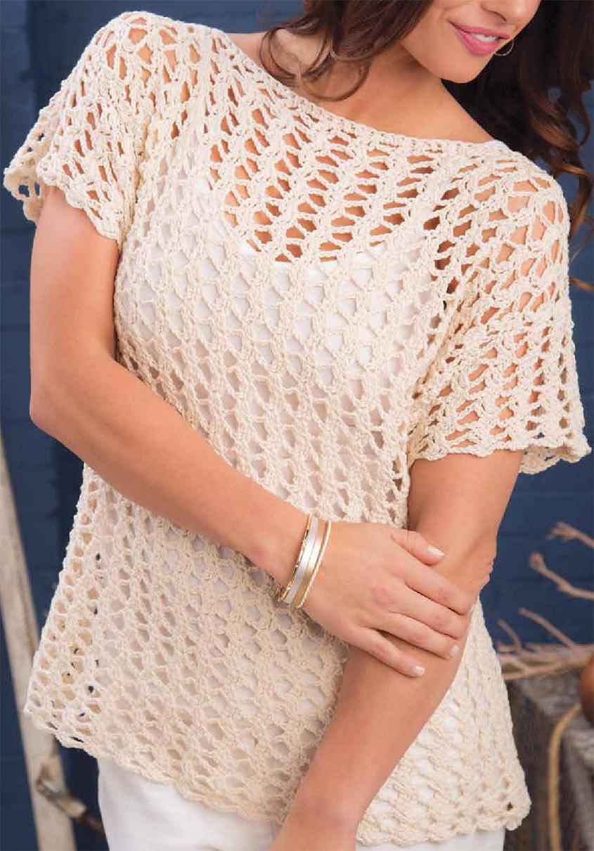 Net lace top crochet pattern free