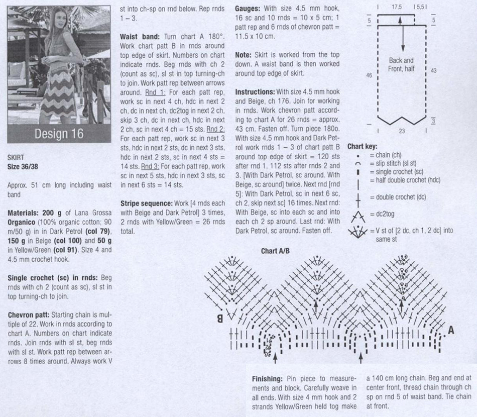 Skirt Crochet Pattern Free Diagram Patterns Chart And Next Long